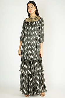Olive Green Printed Embroidered Kurta With Sharara Pants by Suave by Neha & Shreya