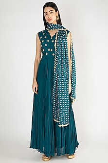 Cobalt Blue Embroidered Anarkali Kurta With Printed Dupatta by Suave by Neha & Shreya
