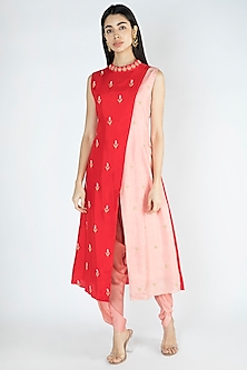 Red Embroidered Kurta With Dhoti Pants by Suave by Neha & Shreya