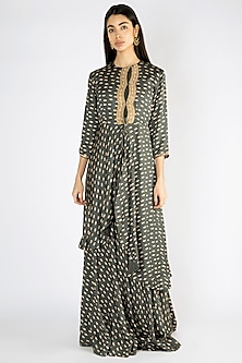 Olive Green Printed Embroidered Anarkali Gown With Jacket by Suave by Neha & Shreya