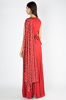 Red Printed Embroidered Saree Gown With Belt by Suave by Neha & Shreya
