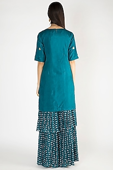 Cobalt Blue Embroidered Printed Kurta With Sharara Pants by Suave by Neha & Shreya