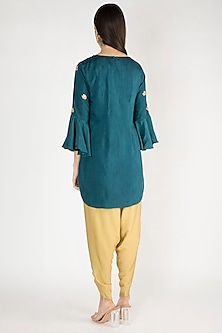 Cobalt Blue Embroidered Kurta With Dhoti Pants by Suave by Neha & Shreya