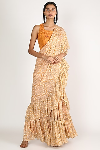 Yellow & Orange Embroidered Pre-Pleated Saree Set by Suave by Neha & Shreya