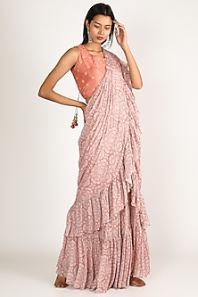 Blush Pink Printed & Embroidered Pre-Pleated Saree Set by Suave by Neha & Shreya
