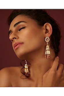 Gold Finish Tassel Earrings With Swarovski Crystals by Suneet Varma X Confluence