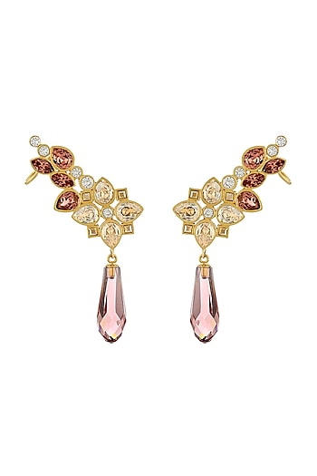 Gold Finish Ear Cuffs With Swarovski Crystals by Suneet Varma X Confluence