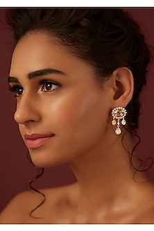 Gold Finish Classic Earrings With Swarovski Crystals by Suneet Varma X Confluence