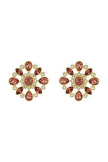 Gold Finish Floral Stud Earrings With Swarovski Crystals by Suneet Varma X Confluence