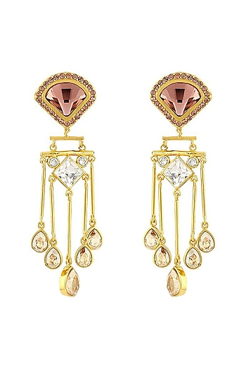 Gold Finish Victorian Drop Earrings by Suneet Varma X Swarovski