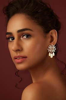 Gold Finish Swarovski Floral Earrings by Suneet Varma X Swarovski