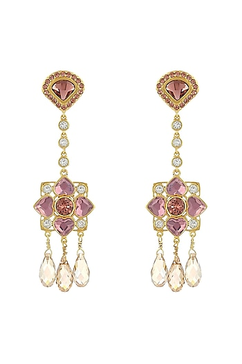 Gold Finish Briolette Drop Earrings With Swarovski Crystals by Suneet Varma X Confluence
