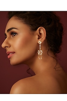 Gold Finish Briolette Drop Earrings by Suneet Varma X Swarovski