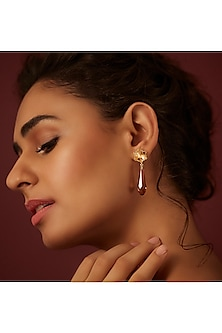 Gold Finish Pure Drop Earrings With Swarovski Crystals by Suneet Varma X Confluence