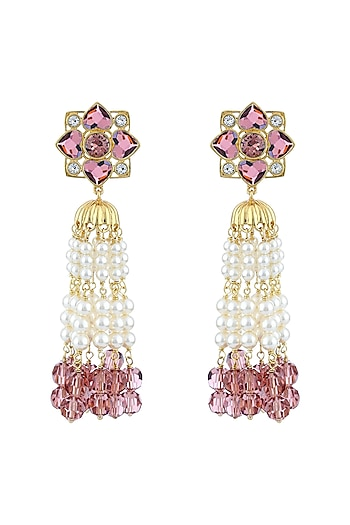 Gold Finish Floral Tassel Earrings With Swarovski Crystals by Suneet Varma X Confluence