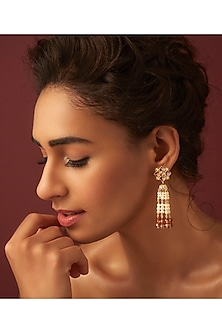 Gold Finish Floral Tassel Earrings by Suneet Varma X Swarovski