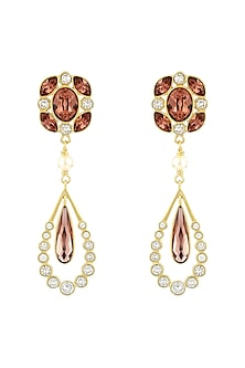 Gold Finish Petite Drop Earrings With Swarovski Crystals by Suneet Varma X Confluence