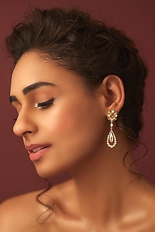 Gold Finish Petite Drop Earrings by Suneet Varma X Swarovski