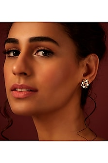Gold Finish Petite Stud Earrings by Suneet Varma X Swarovski