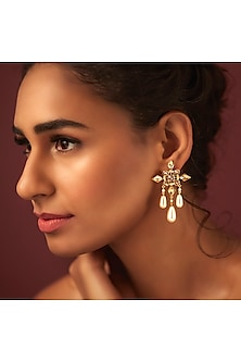 Gold Finish Shimmer Earrings by Suneet Varma X Swarovski