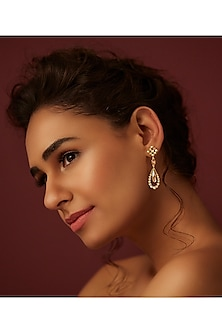 Gold Finish Star Drop Earrings With Swarovski Crystals by Suneet Varma X Confluence