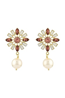 Gold Finish Pearl Drop Earrings With Swarovski Crystals by Suneet Varma X Confluence