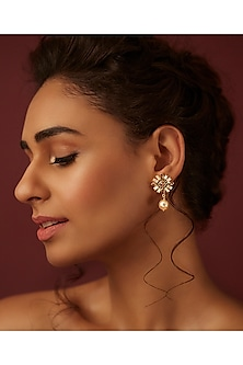 Gold Finish Pearl Drop Earrings by Suneet Varma X Swarovski