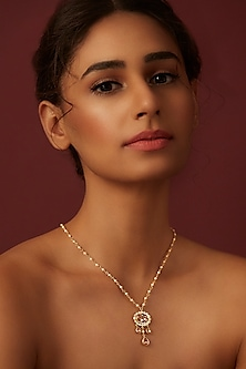 Gold Finish Classic Pendant With Swarovski Crystals by Suneet Varma X Confluence