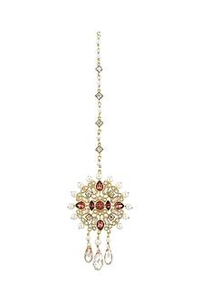 Gold Finish Circular Maang Tikka With Swarovski Crystals by Suneet Varma X Confluence