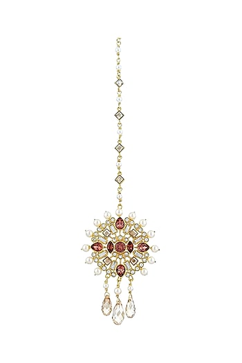 Gold Finish Circular Maang Tikka With Swarovski Crystals by Suneet Varma X Confluence
