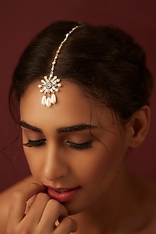 Gold Finish Floral Maang Tikka With Swarovski Crystals by Suneet Varma X Confluence