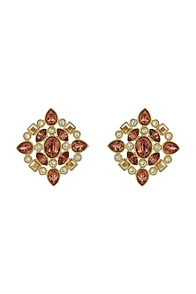 Gold Finish Stud Earrings With Swarovski Crystals by Suneet Varma X Confluence