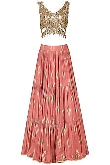 Coral Pink Embroidered Lehenga Set by Salian by Anushree