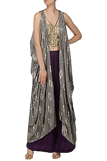 Mud Grey Embroidered Jacket, Corset and Palazzo Pants Set by Salian by Anushree
