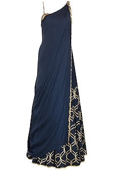 Navy Blue Foil Print and Embroidered Lehenga Set by Salian by Anushree