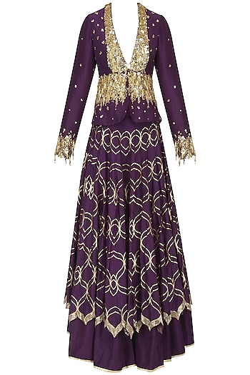 Purple Embroidered Double Layered Lehenga Skirt with Jacket by Salian by Anushree
