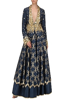 Navy Blue Embroidered Double Layered Lehenga Skirt with Jacket by Salian by Anushree