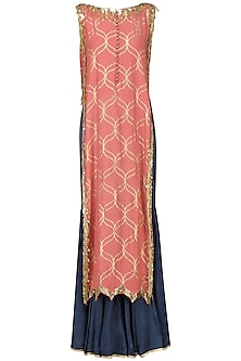 Coral Pink Embroidered Kurta with Sharara Pants by Salian by Anushree