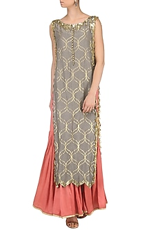 Mud Grey Embroidered Kurta with Sharara Pants by Salian by Anushree