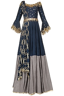 Navy Blue Embroidered Anarkali Gown Set by Salian by Anushree