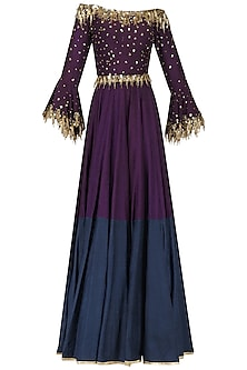 Purple Embroidered Anarkali Gown Set by Salian by Anushree