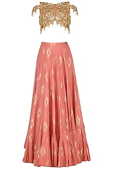 Coral Pink and Mud Grey Embroidered Lehenga Set by Salian by Anushree
