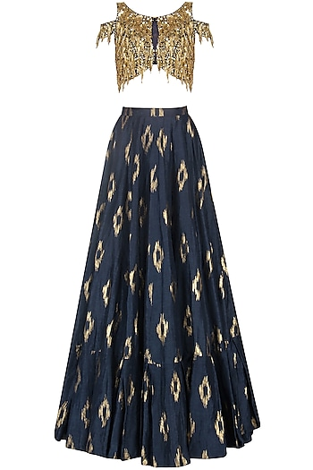 Navy Blue and Mud Grey Embroidered Lehenga Set by Salian by Anushree