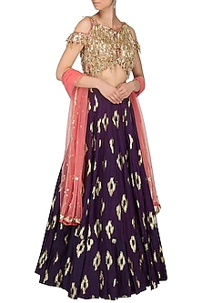 Purple and Coral Pink Embroidered Lehenga Set by Salian by Anushree