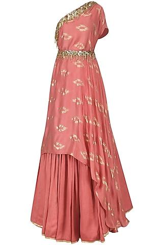 Coral Pink Embroidered Drape Kurta with Skirt by Salian by Anushree