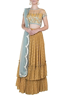 Mustard embroidered printed lehenga set by Salian by Anushree
