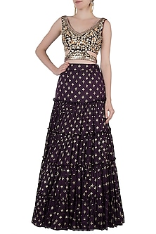 Purple embroidered printed lehenga set by Salian by Anushree