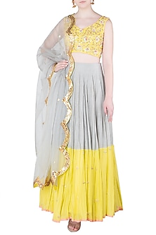 Grey and Lime Embroidered Lehenga Set by Salian by Anushree