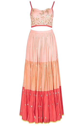 Coral Floral Embroidered Lehenga Set by Salian by Anushree