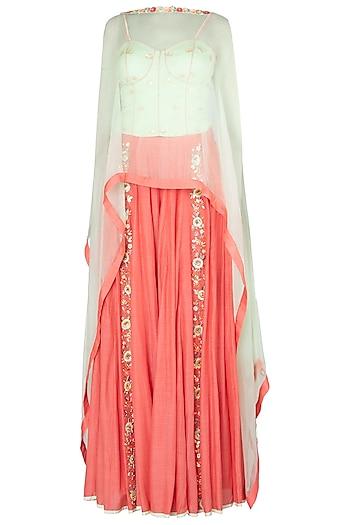 Mint Green Bustier with Coral Embroidered Palazzo Pants and Cape by Salian by Anushree